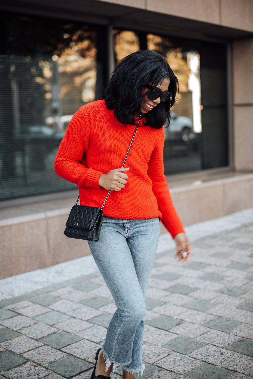 red jcrew sweater dallas fashion blogger chanel woc stephanie taylor jackson