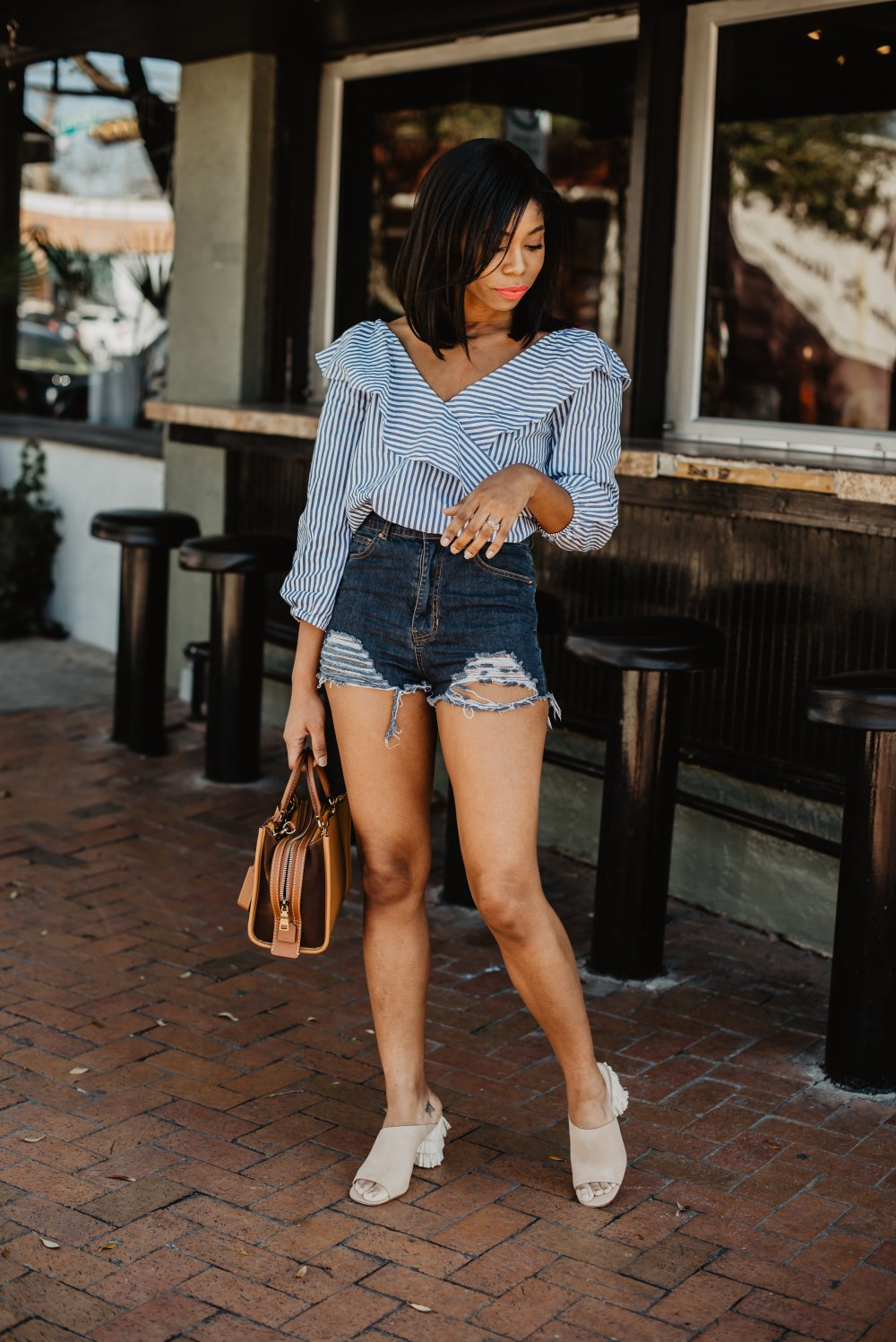 dallas fashion blogger stephanie taylor jackson denim shorts