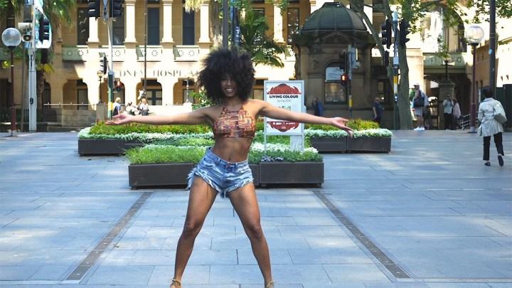 A still of Malaika dancing in Sydney City