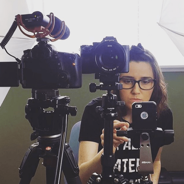 The #Sheleader setup captured by ?@sarahderagon right before her live interview.