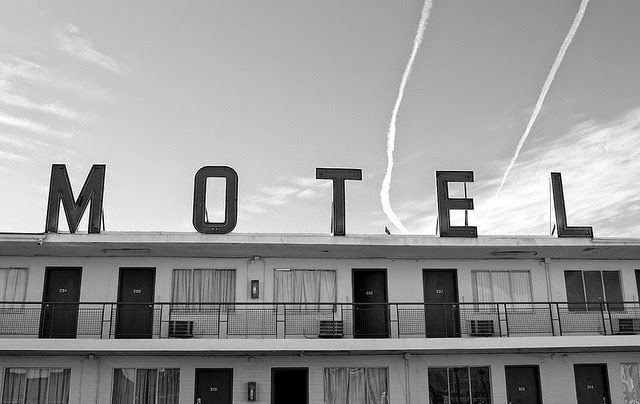 Black and white motel photograph