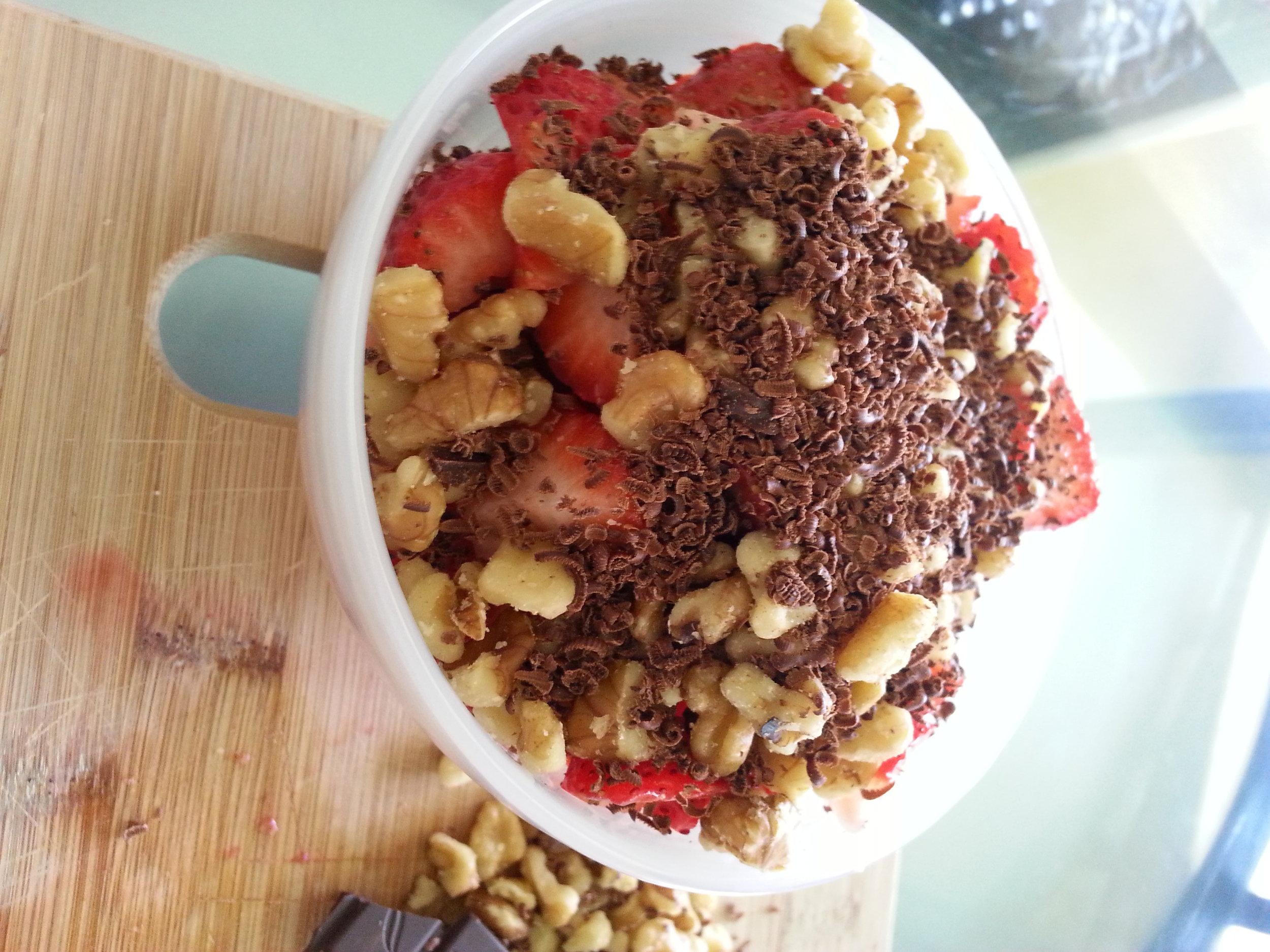strawberry snack with chocolate walnuts