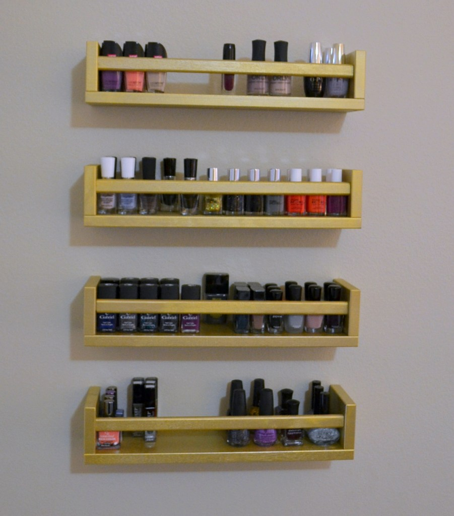 metallic gold nail polish rack