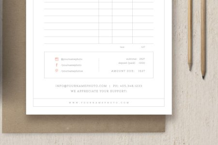 Invoice Template for Photographers   Wedding Business Forms   Cambria