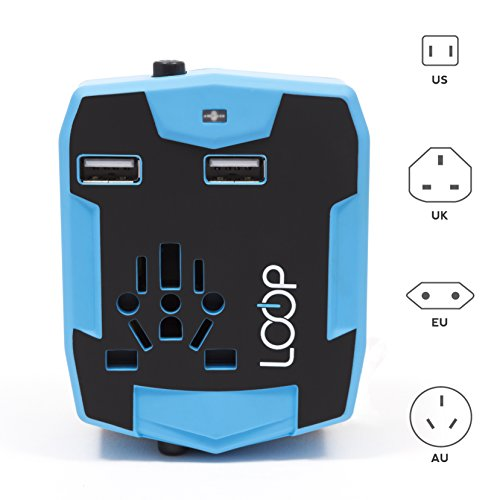 LOOP World Travel Adapter, Worldwide [US UK EU AU/CN] Charger with 3000mAh Power Bank, Dual Smart Power USB Charging Ports & Universal AC Socket - Safety Fused (Blue) $22.45 $39.99 LOOP Electronics