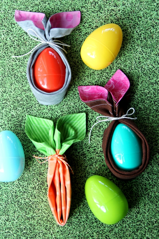 Tutorial: Fabric napkin Easter bunnies and carrots
