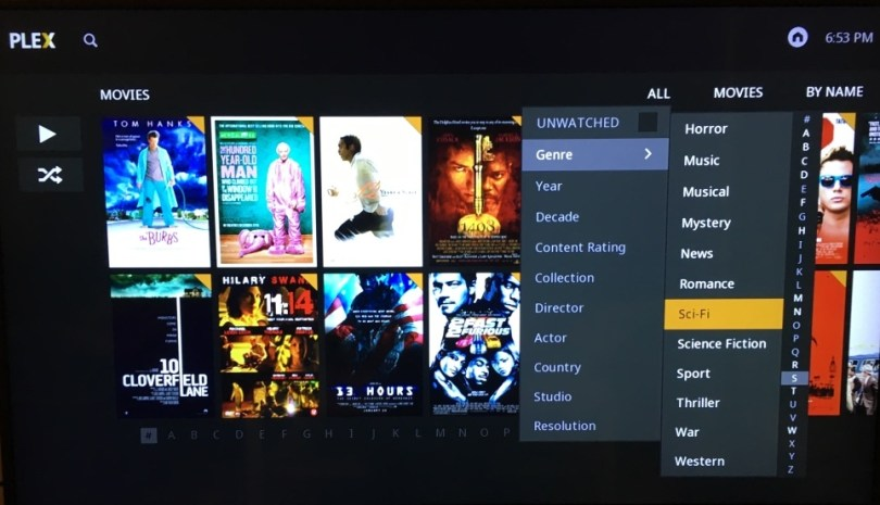 How to View Movies in Plex by Genre  Decade Year  Actor  and More     plex selecting sci fi genre jpg