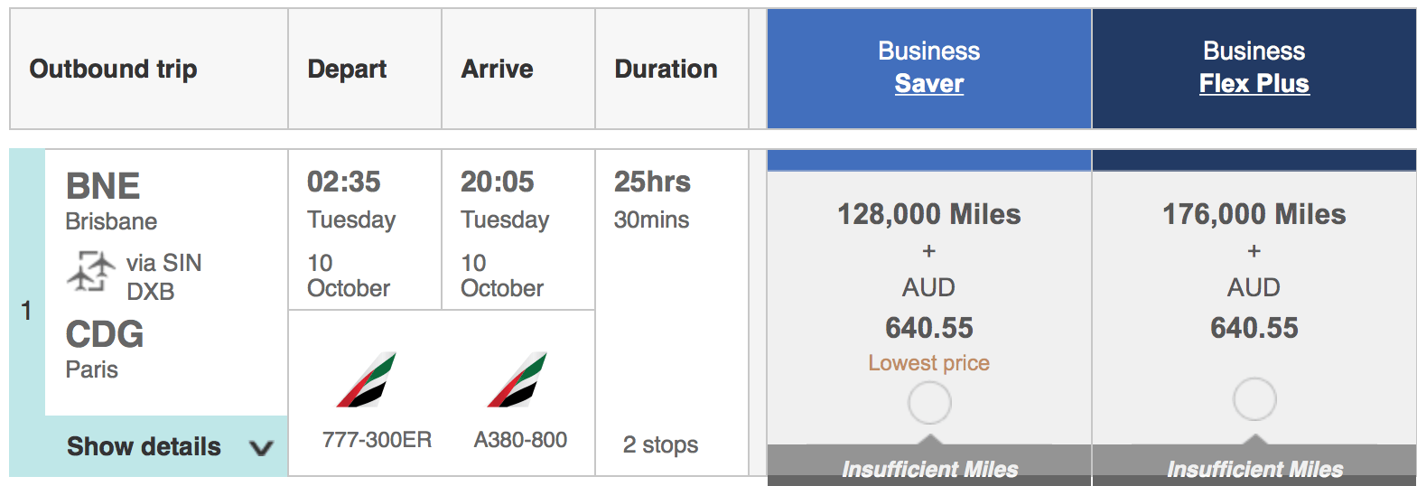 Emirates Business Saver and Emirates Business Flex Plus tickets for Brisbane to Paris