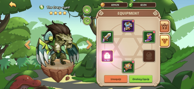 Screenshot of Character Equipment Screen