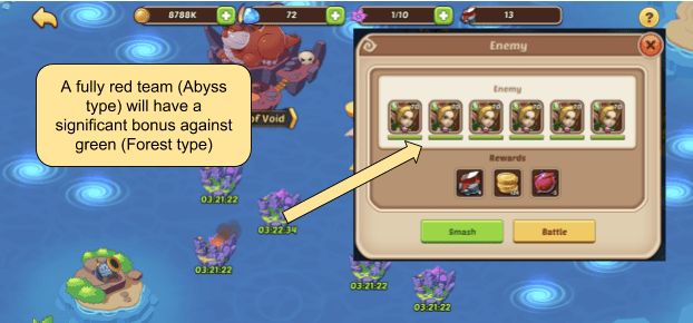 Example of All Green-type Enemies in Celestial Island - Motivates building a Red Team