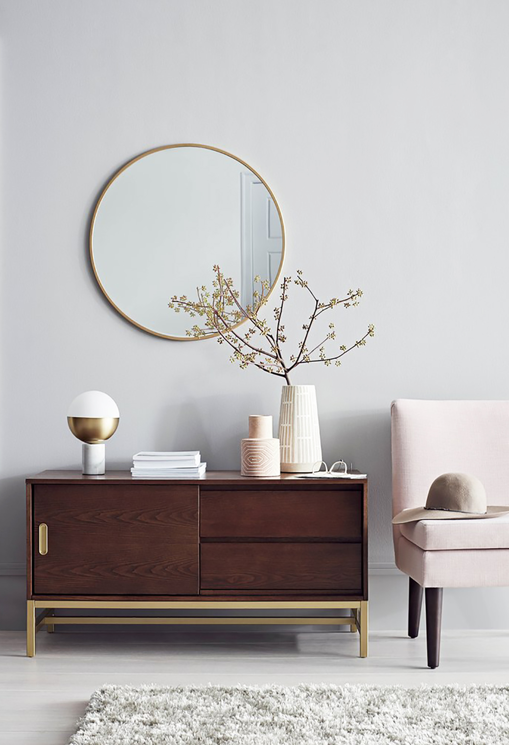 Project 62  Target s Newest Furniture   Accessories Collection     decor8 Sideboard with brass accent  ceramic vases  lamps  brass mirror and the  Plymouth chair