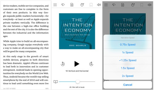 """All Panels from Doc Searls', """"The Intention Economy"""" - Kindle page to audio to increase speed of audio playback"""