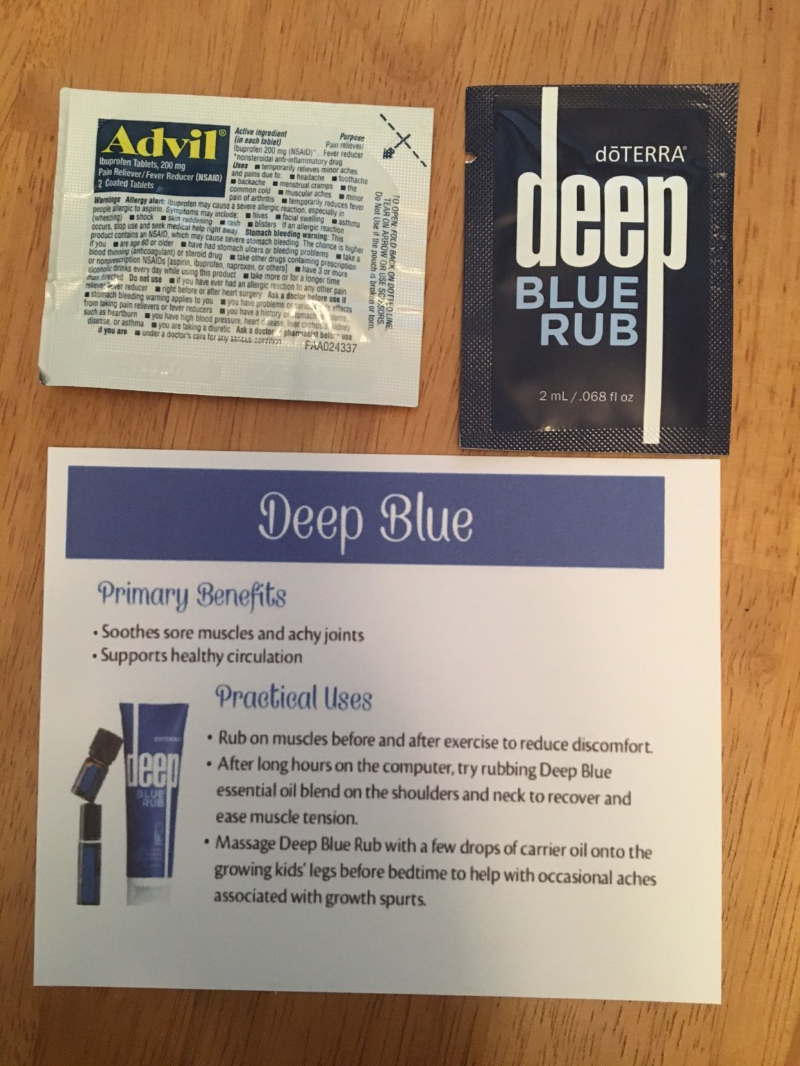 Deep Blue for all those sore muscles and poor tired feet