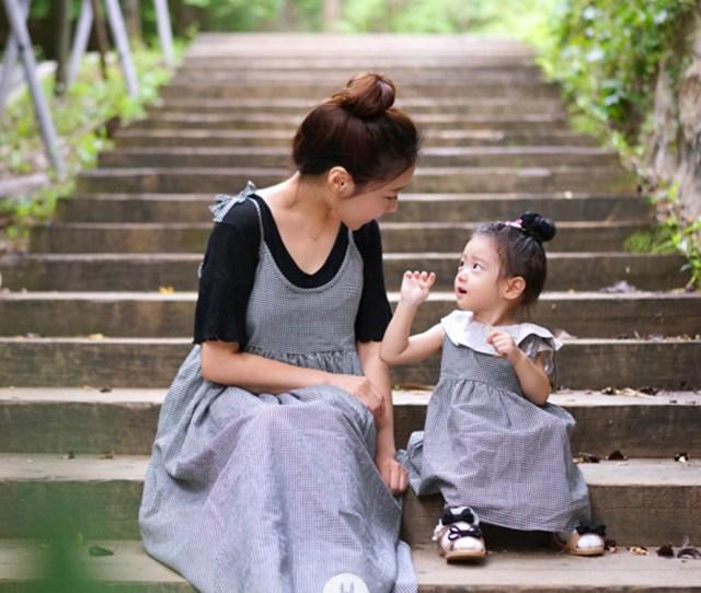 Mom Girl Small Check Black Dress