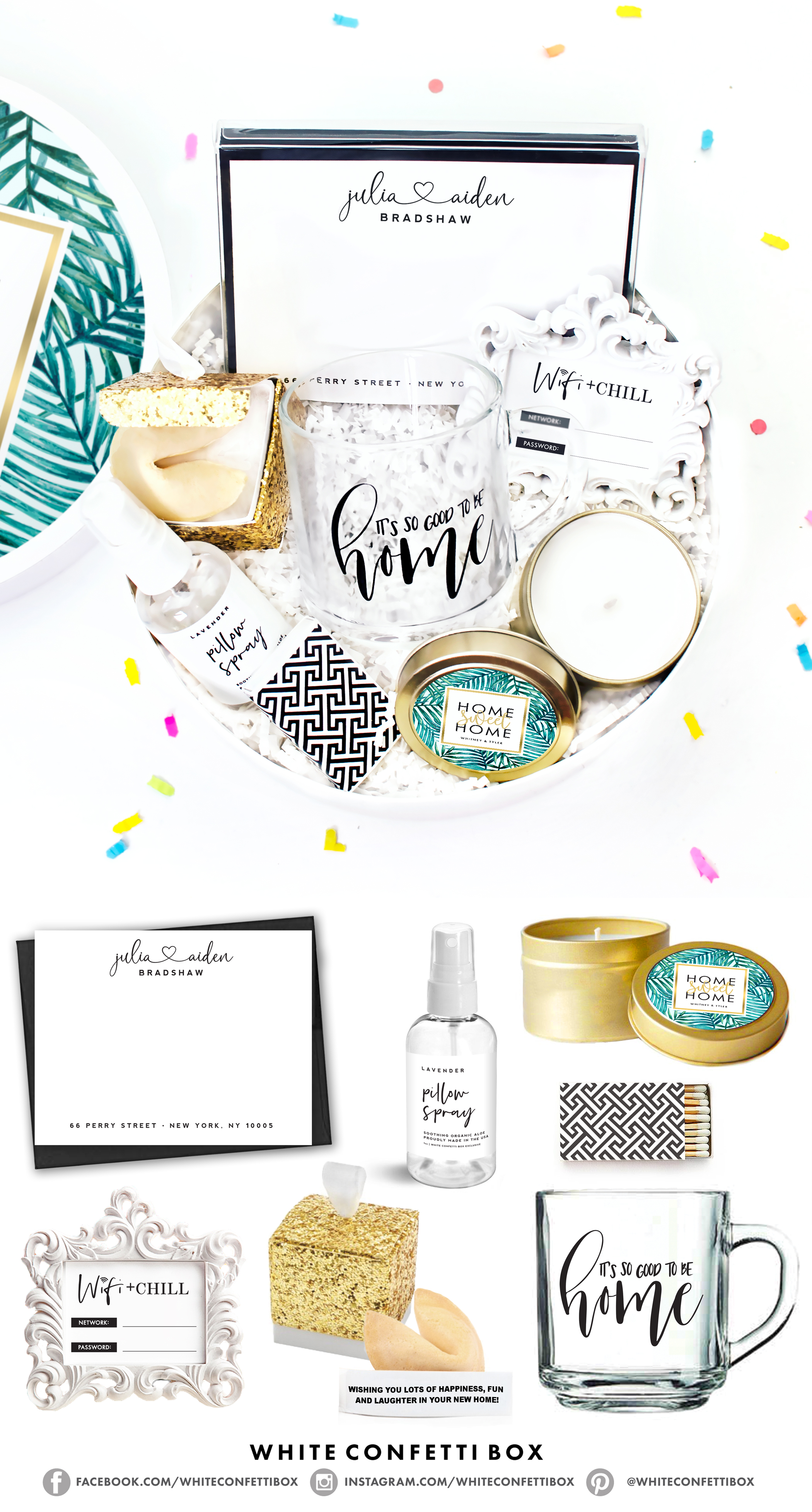 Housewarming Gift New Home Box White Confetti Box