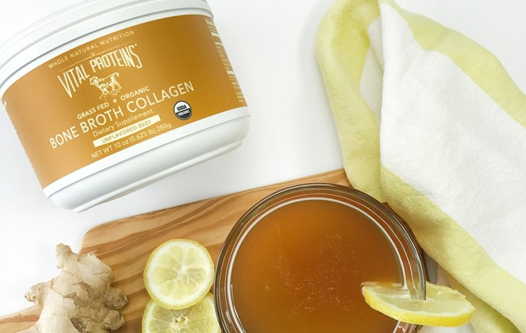 The unflavored bone broth collagen can be made into a soothing warm cup, or added to recipes such as soups, or added to a smoothie.