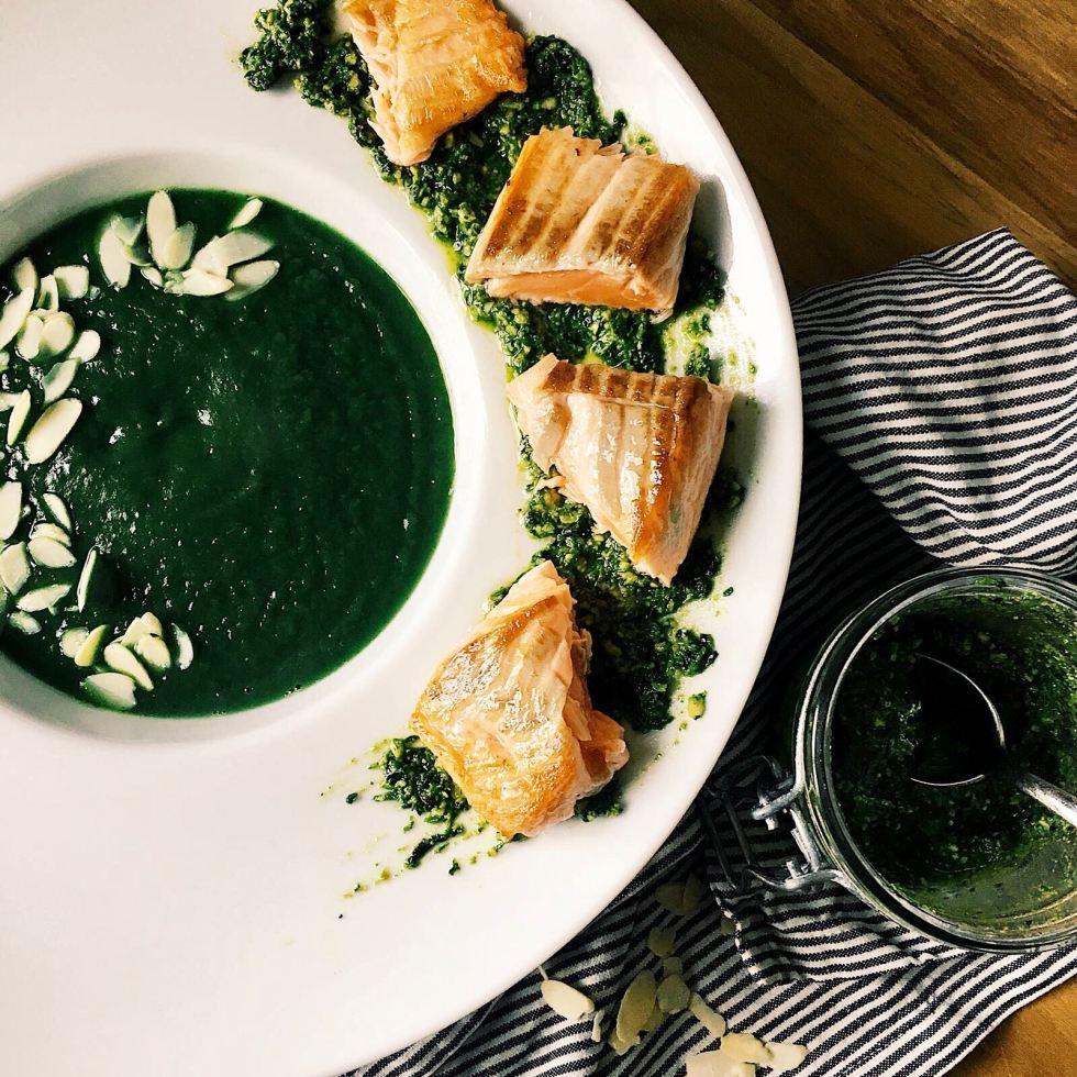 Paris Kitchen: Sweet Potato & Spinach Soup with Salmon Nourish Paris