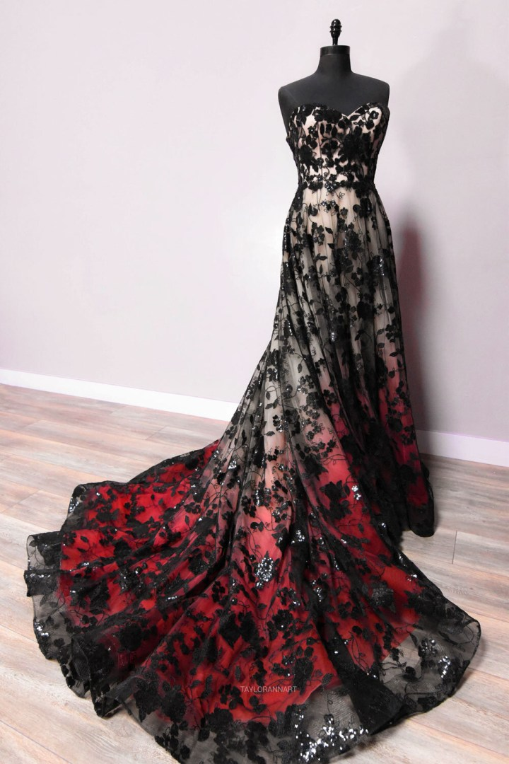 Lawless - Black and Red Lace Ballgown Wedding Dress
