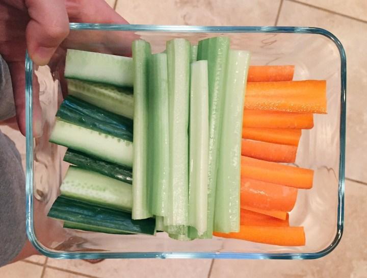 chopped carrots celery zucchini