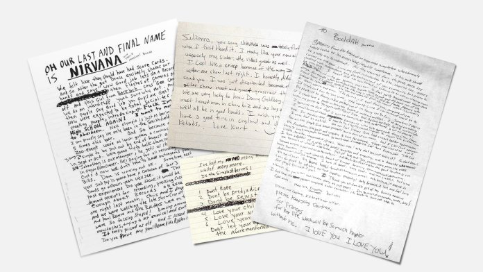 Kurt Cobain notes