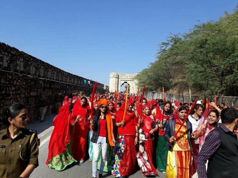 Women take out 'Chetavani Rally' in Rajasthan's Chittorgarh.  Source: IANS