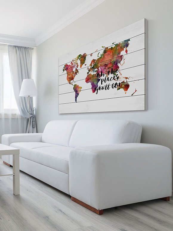Gift for a traveler: world map on the wall