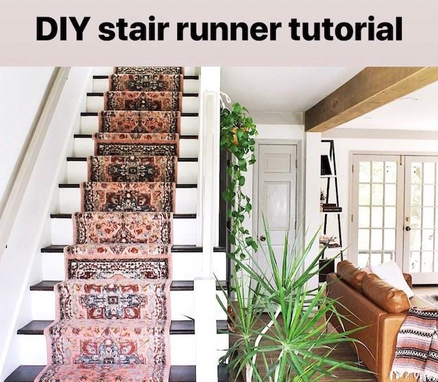 Diy Stair Runner Tutorial — House On A Sugar Hill | Stapling Carpet To Stairs | Electric Stapler | Flooring | Stair Tread | Landing | Stair Runner