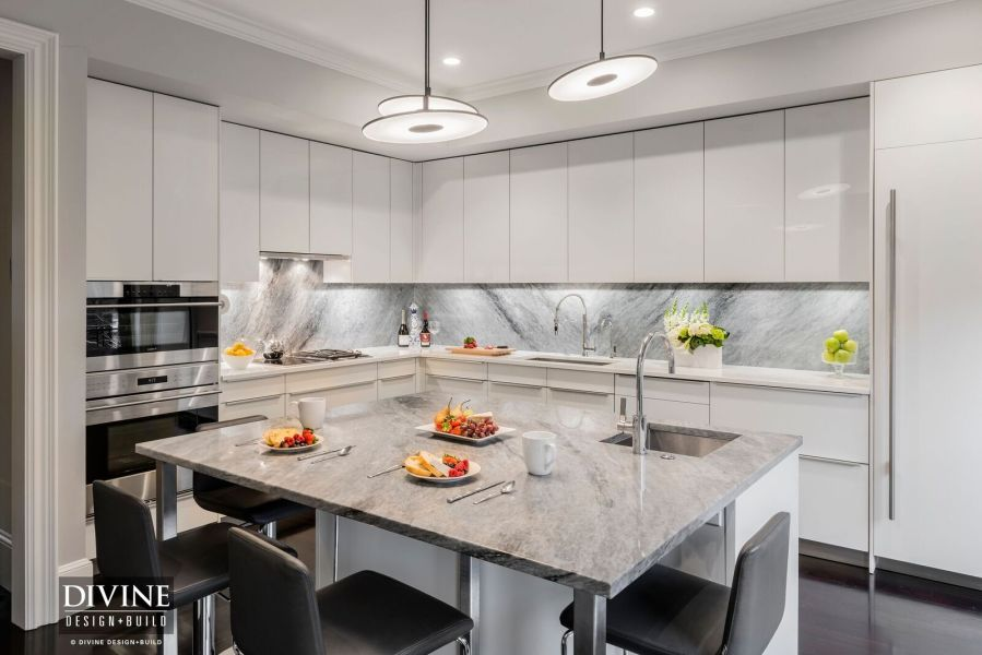 A Modern Kitchen Design In Boston s South End     Divine Design Build boston built in bar designer