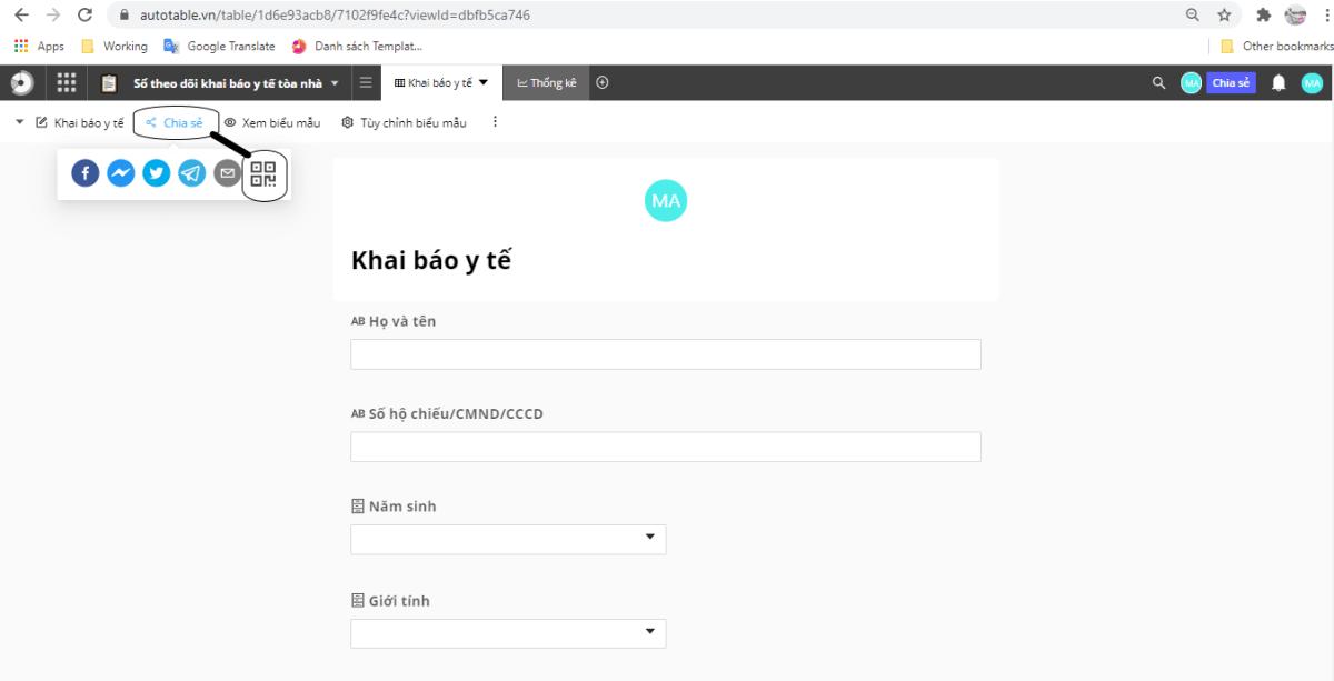 Chia sẻ Biểu mẫu dưới dạng QR code