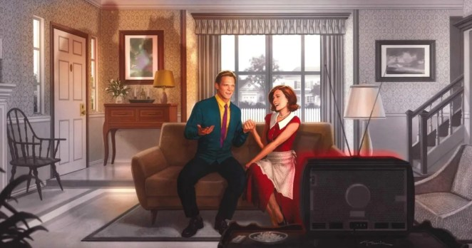 Vision and Wanda in their home
