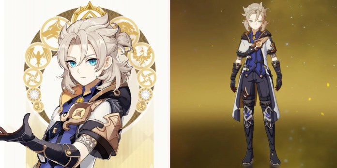 Albedos official art card artwork on the left and his in-game image from the menu on the right.