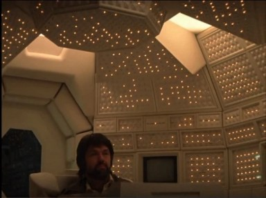 Dallas (Tom Skerrit) consults with the Nostromo's considerately christened ship computer MU-TH-ER in Ridley Scott's ALIEN (1979).