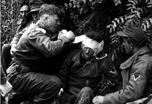 Soldado inglés durante el Desembarco de Normandía