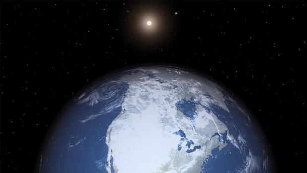 Representación de una tierra helada, sacudida por los drásticos cambios de su eje de rotación en Alfa Centauri