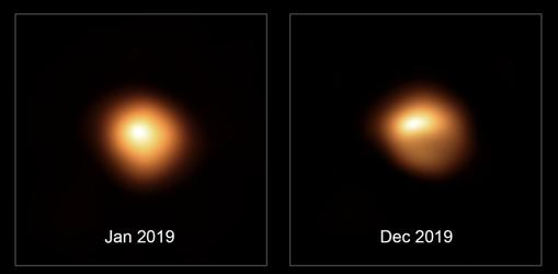 Betelgeuse area in January 2019 (left) and December (right). You can clearly see its darkening