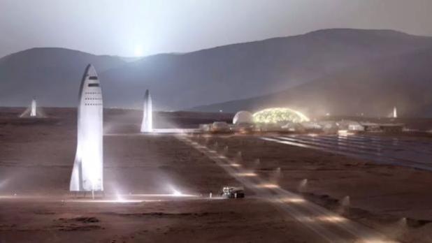 Ilustración de vehículos SpaceX Starship en la superficie de Marte
