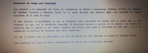 Detalle del informe emitido por el Departamento de Seguridad Nacional el mismo día que Cavadas alertó de la peligrosidad del coronavirus