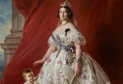 Isabel II junto a su hija la infanta Isabel. Palacio Real de Madrid