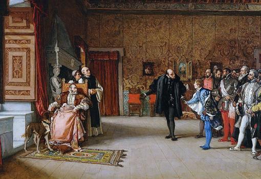 Presentation of Don Juan de Austria to Emperor Carlos V, in Yuste, by Eduardo Rosales, 1869.