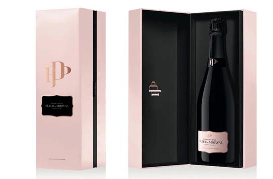 Imagen del packaging del nuevo champagne rosado de Miraval