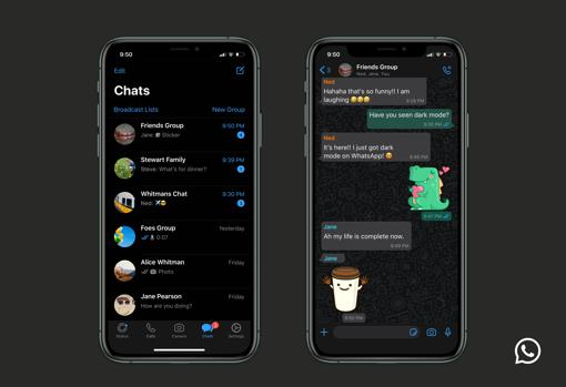 WhatsApp dark mode on iPhone mobiles