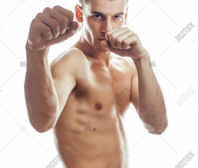 Young Handsome Naked Torso Man Boxing On White Background Isolated Lifestyle Sport People Concept Close