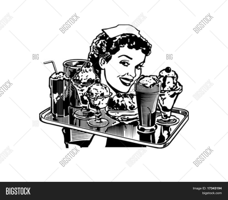 Retro Diner Waitress Vector Amp Photo Free Trial