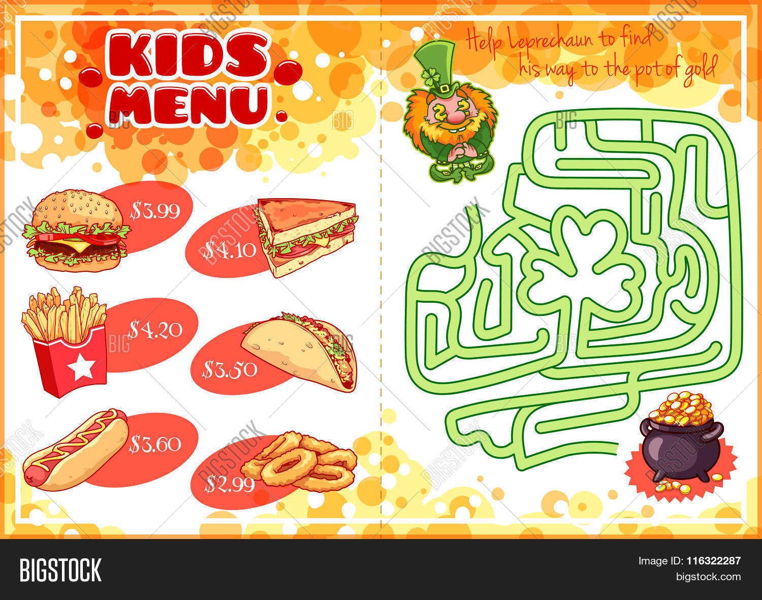 Kids Menu Fast Food Vector Amp Photo Free Trial