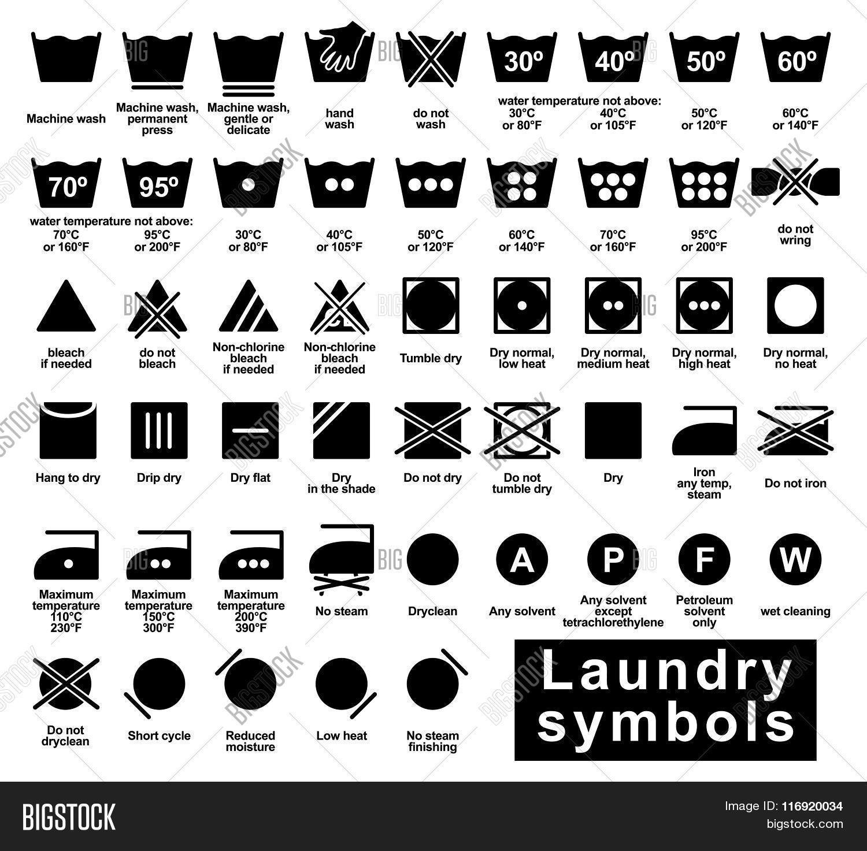 Laundry Symbols Set Vector Amp Photo Free Trial