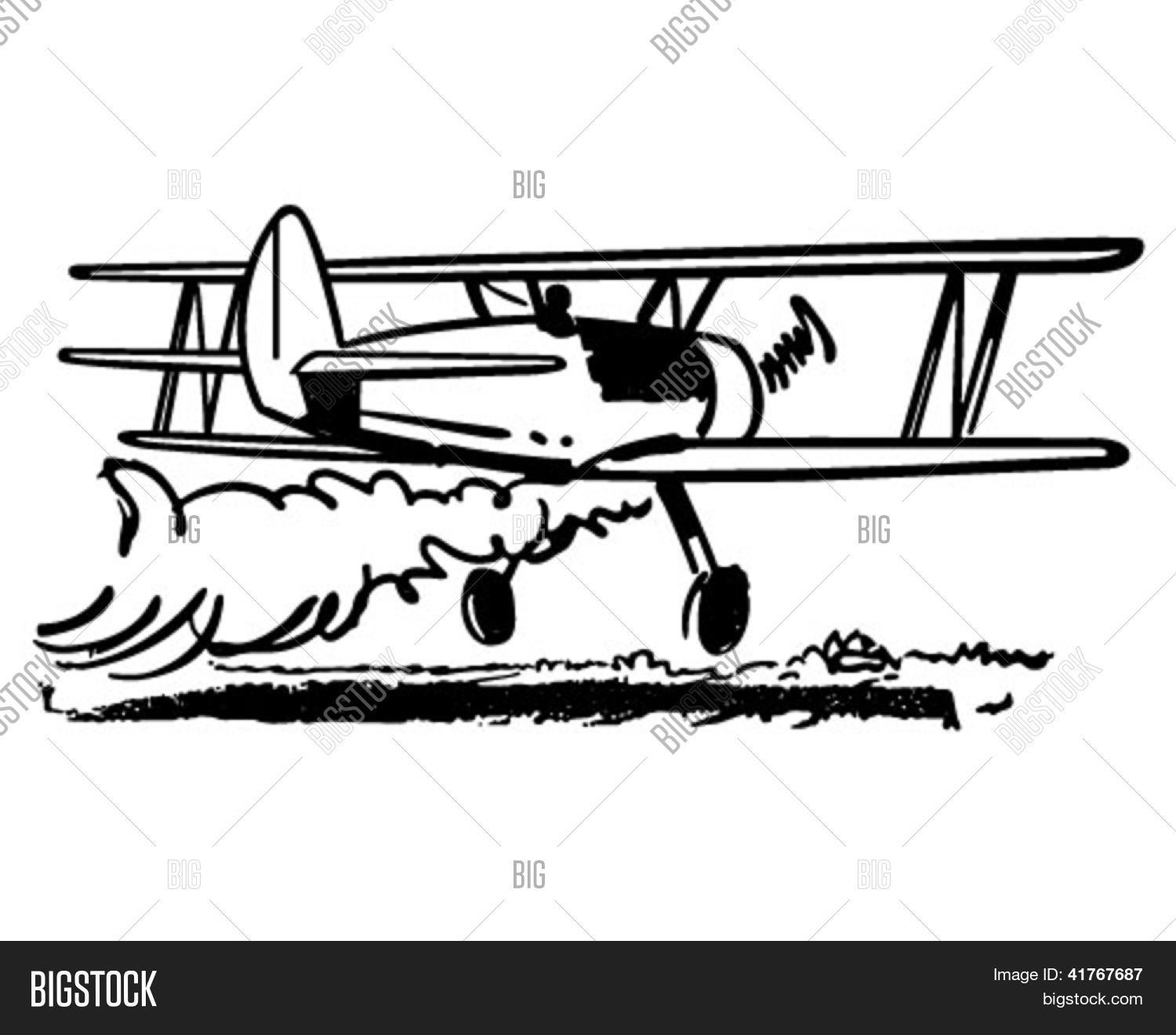 Crop Dusting Biplane Vector Amp Photo Free Trial