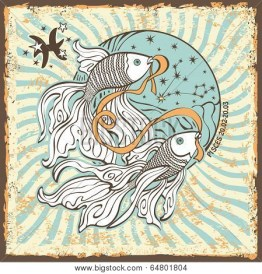 Pisces zodiac signs of Horoscope circle with constellation on shabby vintage background.Two fish kept in the mouth tape.Graphic Vector Illustration in retro style. poster