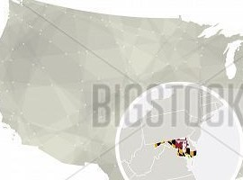 HD Decor Images » Polygonal Abstract Vector   Photo  Free Trial    Bigstock Polygonal Abstract Usa Map With Magnified Maryland State