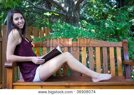 Barefoot Teenage Girl Reading Images Illustrations