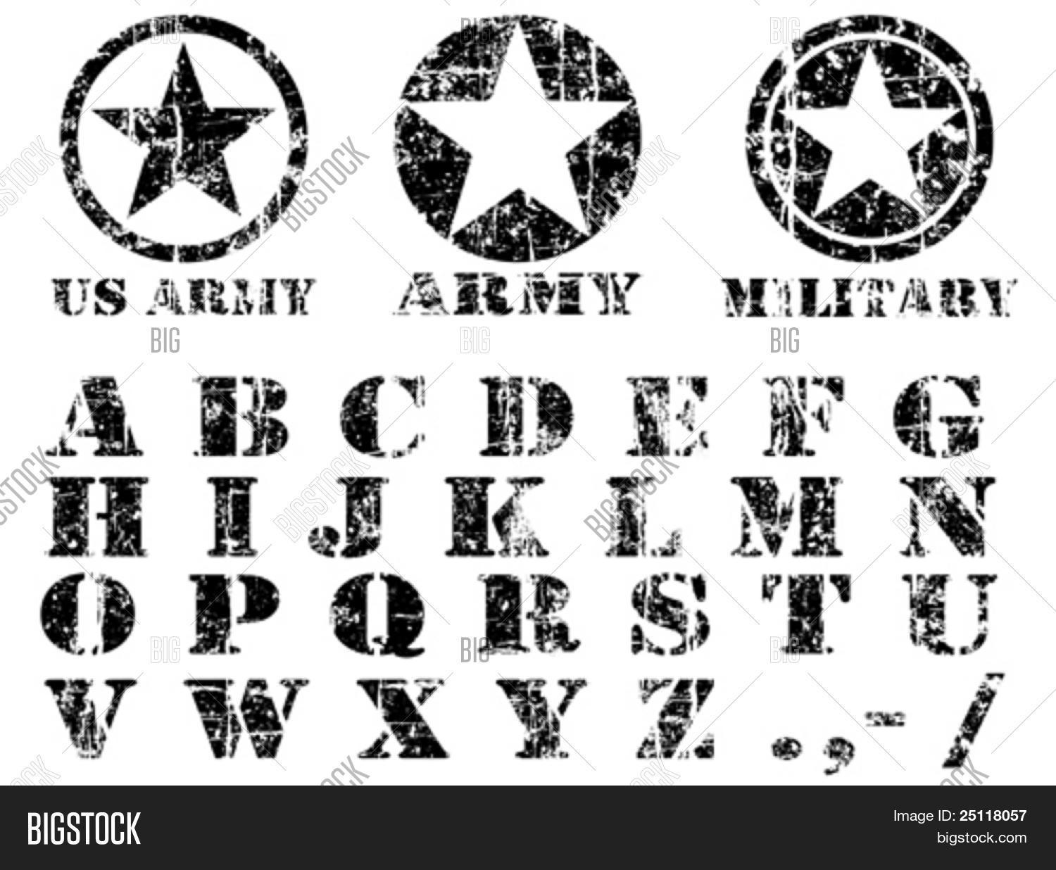 Vector Military Vintage Font Vector Amp Photo